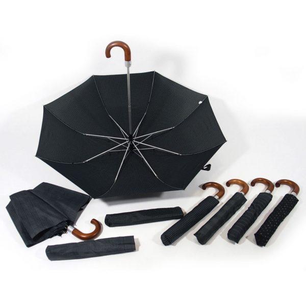 ombrello manico curvo in legno